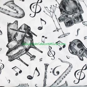 Tela patchwork estampado instrumentos música blanco y negro