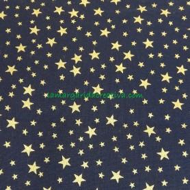 Tela patchwork Navidad Estrellitas doradas azul noche