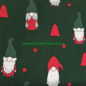 Tela patchwork Navidad Gnomos y duendes