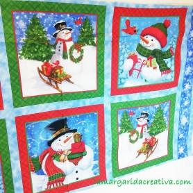 Panel patchwork Navidad muñeco de nieve 1
