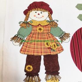 Panel tela patchwork muñeca espantapájaros Sally