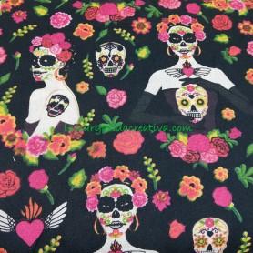 Tela algodón Catrinas Mejicanas Calaveras  Flores en lamargaridacreativa