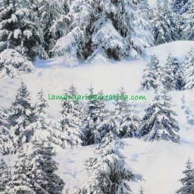 Tela patchwork Navidad Invierno Abetos Nevados 4
