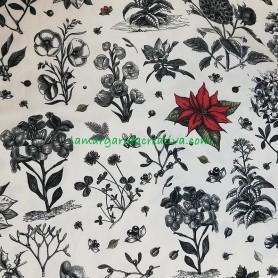 Tela patchwork Navidad  silvestre Ponsetia Roja 2