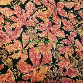 Tela patchwork estampada Otoño estampado hojas otoñales perfiladas en hilo dorado 3