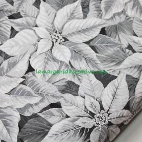 Tela patchwork Navidad Ponsetia blanca, gris y plata en lamargaridacreativa