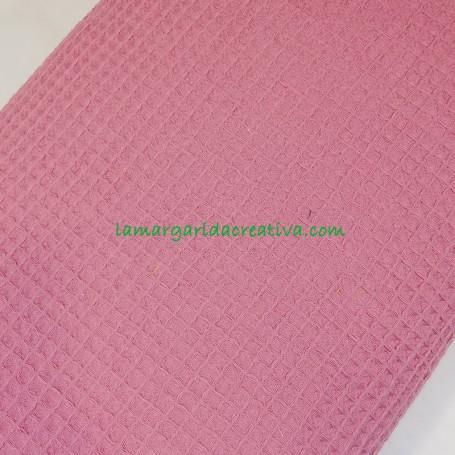 Tejido wafle o nido abeja algodón color rosa viola en la margaridacreativa 2