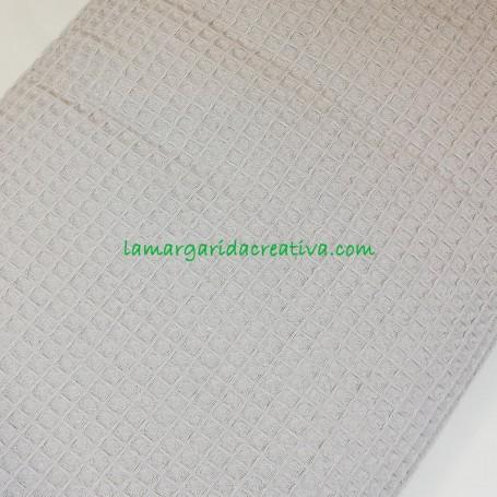 Tejido waffle gofrado nido abeja algodón color gris perla en la margaridacreativa 2