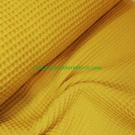 Tejido wafle o nido abeja algodón color mostaza en la margaridacreativa 3
