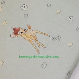 Tela patchwork algodón Disney licencia bambi verde en la margaridacreativa 3