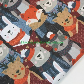Tela patchwork infantil winter animals en la margaridacreativa