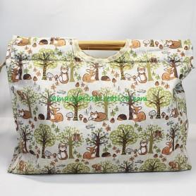 Bolsa labores y lanas estampado foxy y animales bosque en la margaridacreativa 1