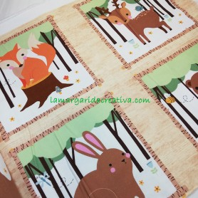 Panel Tela patchwork franela woodland I collection fox en lamargaridacreativa 2