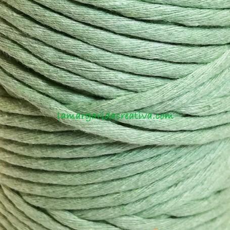 Hilo cuerda estambre macramé fibras recicladas verde empolvado lamargaridacreativa 2