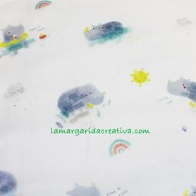 Tela impermeable  y traslúcida Swim Rhinos Katia fabrics Bebé en la margaridacreativa