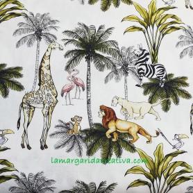 Tela popelín rey león y animales en la Margarida Creativa