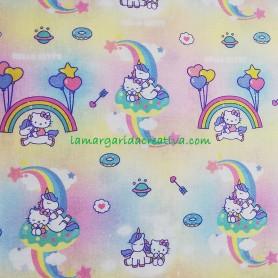 Tela popelín Hello Kitty arcoiris y unicornios Rainbow en lamargaridacreativa 2