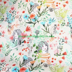 Tela beautiful garden impermeable plastificada Katia fabrics en la margaridacreativa 3