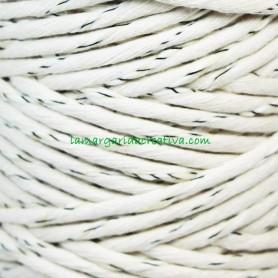 Hilo cordón cuerda macramé crudo blanquecino jaspeado fibras recicladas en lamargaridacreativa