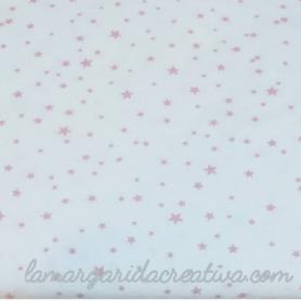 tela tejido popelín estampado estrellas rosa palo fondo blanco costura creativa