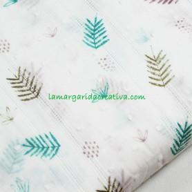 Plumeti y vainica Vintage Print Leopard Leaves katifafabrics en lamargaridacreativa 4
