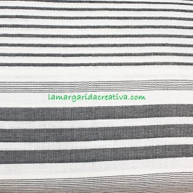 Tela bambula panamá stripes rayas blanco y negro de katiafabrics en lamargaridacreativa 2