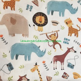 Tela patchwork Animales Safari sabana lamargaridacreativa