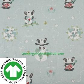 Tela Algodón Orgánico Pandas Verde Wish