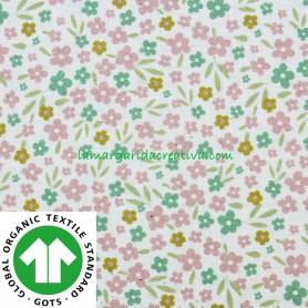 Tela Popelín Orgánico Flores Multicolor Wish