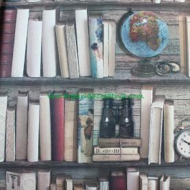 Loneta estampada Estantería libros