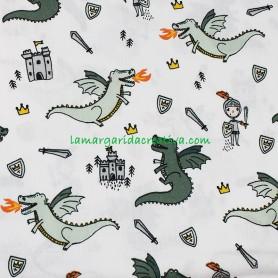 Tela algodón caballeros y dragones blanco lamargaridacreativa.com