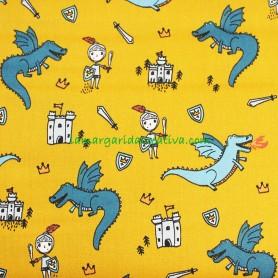 Tela algodón caballeros y dragones Mostaza La Margarida Creativa