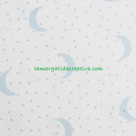 Tela Piqué  Infantil Lunas Azul