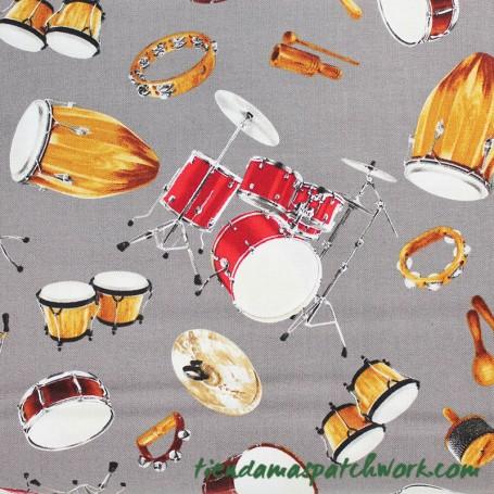 Tela patchwork musica In Tune - Instrumentos percusión