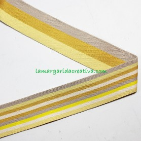 Cinta Mochila Reversible Multicolor Amarillo 40mm lamargaridacreativa