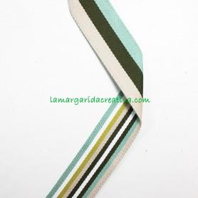 Cinta Mochila Reversible Multicolor Verde 40mm lamargaridacreativa