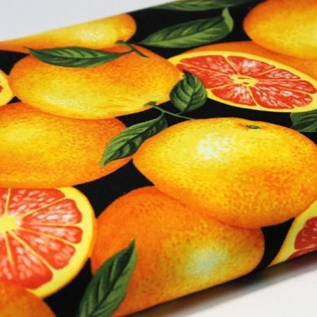 Tela patchwork cocina fruta naranja 3