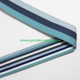 Cinta Mochila Reversible Multicolor Azul 40mm lamargaridacreativa