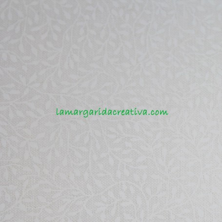 Tela Patchwork Hojas Tono sobre Tono Blanco Algodón lamargaridacreativa 1