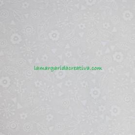 Tela Patchwork Flores Tono sobre Tono Blanco Algodón lamargaridacreativa 1
