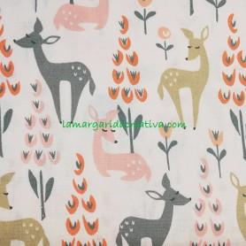 Tela Patchwork Ciervos en la Naturaleza Algodón costura lamargaridacreativa