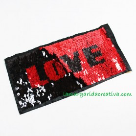 Aplicación Love bicolor Lentejuelas parche lamargaridacreativa 1
