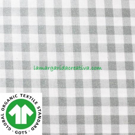 Tela Vichy Gris Cuadros Algodón Cuadro Mediano confección patchwork y costura lamargaridacreativa
