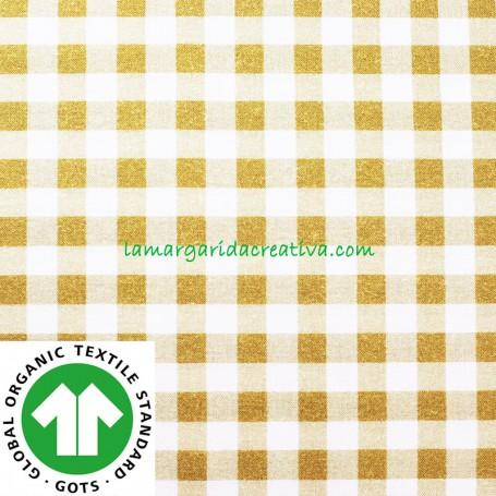 Tela Vichy Mostaza Cuadros Algodón Cuadro Mediano confección patchwork y costura lamargaridacreativa
