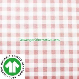 Tela Vichy Rosa Palo Cuadros Algodón Cuadro Mediano confección patchwork y costura lamargaridacreativa