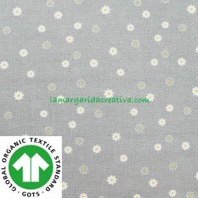 Tela Flores Gris Empolvado Algodón Orgánico Patchwork y costura confeccion lamargaridacreativa