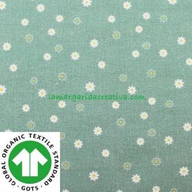 Tela Flores Verde Empolvado Algodón Orgánico Patchwork y costura confeccion lamargaridacreativa