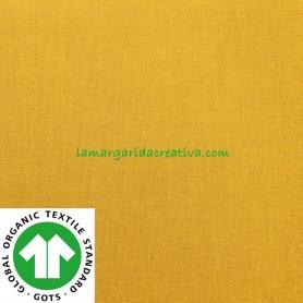 Tela-Mostaza-Liso-Algodón-Orgánico-Patchwork-y-Costura-confección-lamargaridacreativa