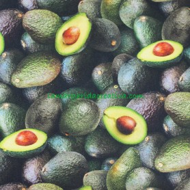 Tela Algodón Aguacates Patchwork y costura estampado frutas cocina lamargaridacreativa