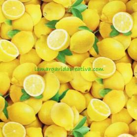 Tela Algodón Limones Patchwork y costura estampado frutas cocina lamargaridacreativa